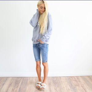 Sun washed faded denim jean shorts. Closet staple